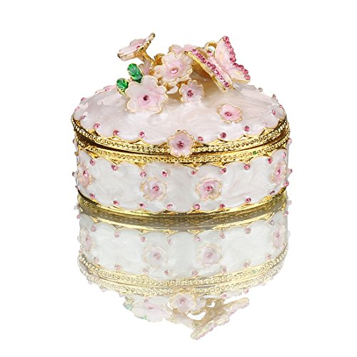 YUFENG Butterfly Trinket Box Hinged for Girls, Handmade Jewelry Box Decorated with Crystal for Gift (Butterfly Box)