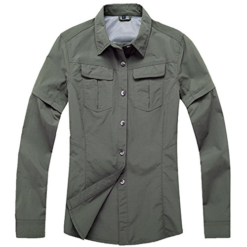 Jessie Kidden Women's Quick Dry Convertible Long Sleeve Shirts Hiking Camping Fishing Sailing #0805-Olive Green,XX-Large