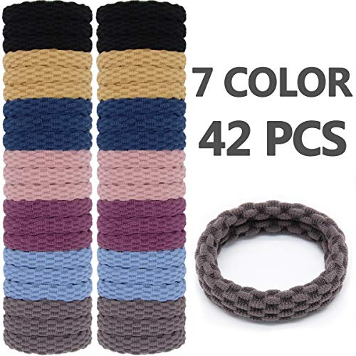 Head Rope - Hair Ties Elastics Wenida 42 Pcs 7 Colors Seamless Thick Soft Nylon Stretch Ponytail Holders Rubber Bands Rope Headband for Women Girls