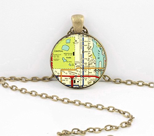 Manhattan Upper East Side NYC New York SoHo Tribeca Wall St Vintage Subway Map Vintage Map pendant necklace key ring travel gift - Nyc Map Soho