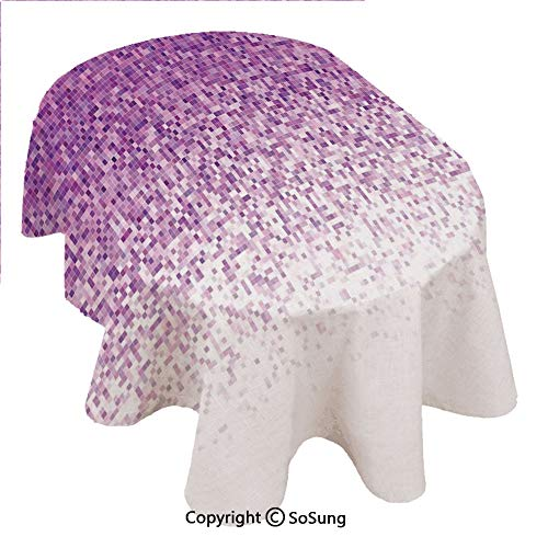 SoSung Magenta Decor Oval Polyester Tablecloth,Computer Art Style Tile Mosaic Squared Complex Pixel Party Mix Art Concept,Dining Room Kitchen Oval Table Cover, 54 x 72 inches,Purple White -