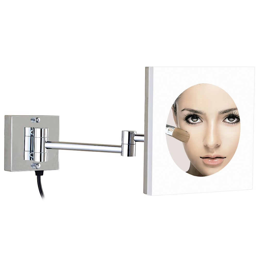 GURUN 8-Inch Adjustable LED Lighted Wall Mount Makeup Mirror Acrylic with 10x Magnification,Chrome Finish M1804D 8in,10X