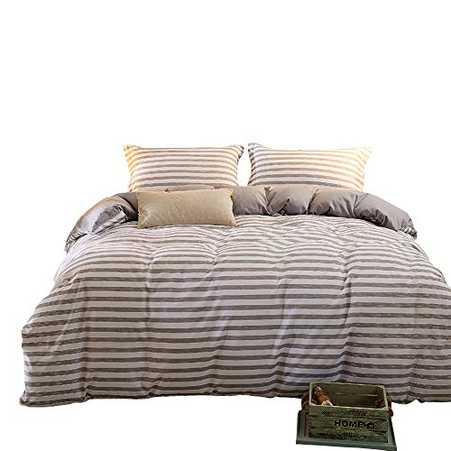 ZHIMIAN Reversible 3 Piece Striped Print Duvet Cover Set with Zipper Closure(1 Duvet Cover + 2 Pillow Shams),Ultra Soft(Queen Gray) (Duvet Cover And Striped White Brown)