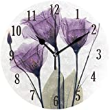senya Wall Clock, Battery Operated Round Purple Flowers Silent Clock, Home Decor Wall Clock for Living Room, Kitchen, Bedroom