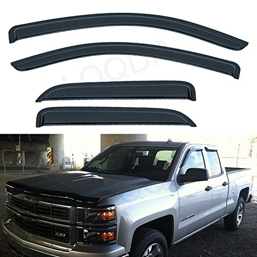 - LQQDP Set of 4 Front+Rear Smoke Sun/Rain Guard Outside Mount Tape-On Acrylic Window Visors For 14-18 Chevy Silverado/GMC Sierra 1500 15-18 2500/3500 HD Double/Extended Cab With Half Size Rear Doors