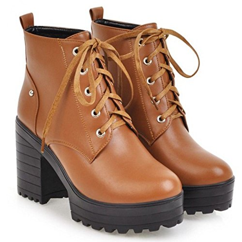 High Bootie Boots Ankle Heels Yellow 613 TAOFFEN Brown Chunky Women Fashion qxtPA