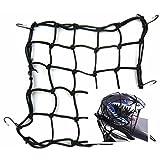 "Moyishi 15 x 15 ""(40x40cm) Cargo Net for Motorcycle Elasticated Bungee Cord Cargo Net 6 Hook Luggage Mesh Bungee Net (Black)"