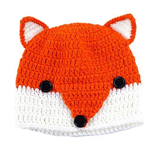Kids Cartoon Fox Beanie,Crytech Toddler Baby Thick Crochet Wool Knit Winter Warm Cable Hat with Ear Children's Cute Slouchy Fashion Skull Ski Cap for Boy Girl (Orange)