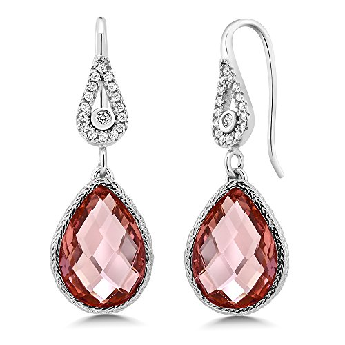 Pear Shaped Checkerboard Nano Morganite 925 Silver Dangle Earrings