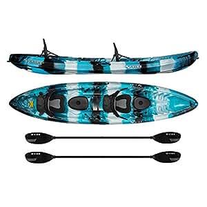 Vibe Kayaks Skipjack 120T | 12 Foot Tandem Kayak | 2 Person, Sit On Top Kayak w/ 2 Paddles and 2 Deluxe Seats