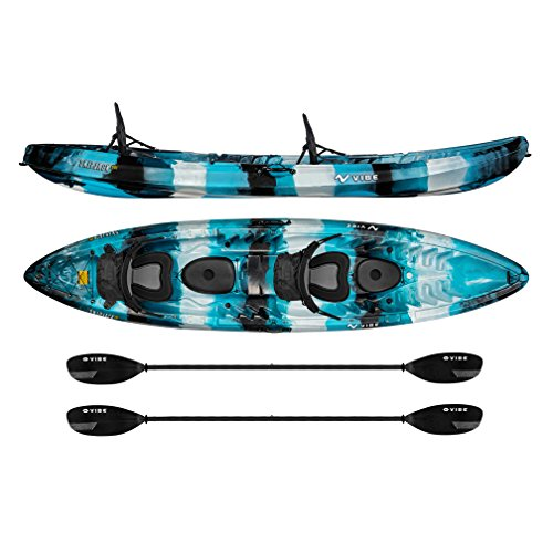 Vibe Kayaks Skipjack 120T 12' Tandem Sit On Top Kayak 2 or 3 Person Package (Sea Breeze) - Includes 2 Deluxe Seats and 2 Paddles