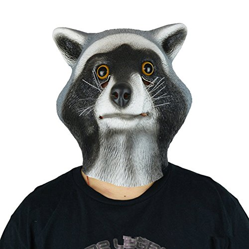 QTMY Latex Rubber Animal Raccoon Mask for Halloween Party Costume]()