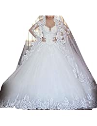 Vintage Inspired vestidos de novia Long Sleeve Sheer Lace Ball Gowns Wedding Dresses M0303