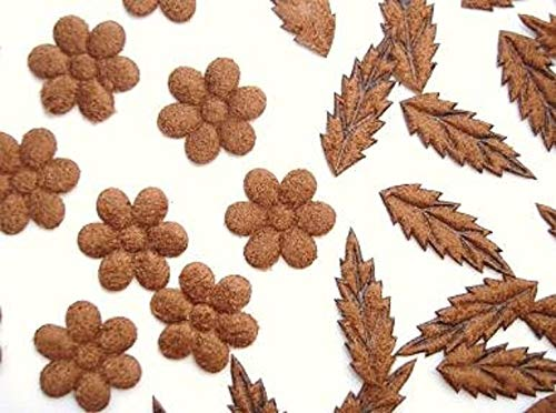 50 Brown Suede Small Flower & Leave Mix Applique/Trim/Craft/Sewing/Decor #ID-654