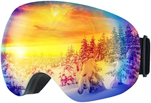 OMORC Ski Goggles,Large Spherical Interchangeable Lens Ski Snow Goggles,Italy Imported Dual Layer Anti-Fog Lenses,Two-Way Ventilation System,UV Protection,OTG Helmet Compatible for Men Women Skiing