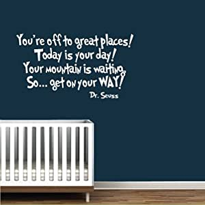 Amazoncom dr seuss book quote vinyl wall decal white you for Kitchen colors with white cabinets with dr seuss wall art decor