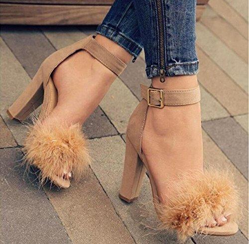 Cheville Ouvert D'été Boucle Chaussures Bloc Juleya Femmes Talons Plume Ornent Beige Sandales Haut Hauts Dames Talon On5vUSqz