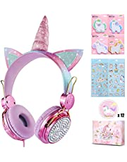 charlxee Kids Headphones with Microphone for School,Giant Unicorn Gifts for Girls Children Birthday,On Over Ear Wired Headset with 3.5mm Jack/HD Sound/Kindle/Tablet/PC Online Study(Princess,Rose)