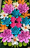 Wall Paper Tropical Fiesta Theme Flowers for Backdrops - Includes 28 Paper Flowers and 28 Pairs of Paper Leaves - Fully Assembled