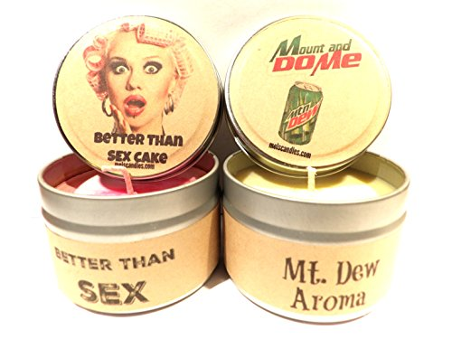 COMBO Better than Sex and Mt and Do Me Set of Two 4oz Soy NOVELTY Tin Candles by Mels Candles & More