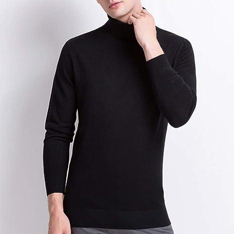 IYSI Suéter Hombre Jersey De Cuello Alto Camisa de Solapa Caliente Jersey de Lana 100% Pura Delgado Manga Largo de Punto Suéter: Amazon.es: Deportes y aire libre