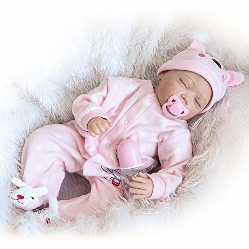 Fan-Moon-Baby-Doll-Soft-Silicone-Pink-Rabbit-Clothes-22-Inch