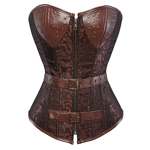 Body Shaper Halloween Costumes Uk (Blidece Women's Retro Gothic Steel Boned Brocade Steampunk Corsets Halloween Burlesque Bustiers Top X-Large)