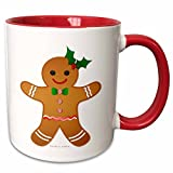 3dRose Lee Hiller Designs Holidays Christmas - Happy Holidays Christmas Gingerbread Man Cookie - Girl - 11oz Two-Tone Red Mug (mug_107248_5)