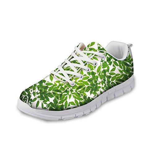 Bigcardesigns Små Fräsch Stil Womens Mode Löparskor Sneakers Snörning Grönt 1