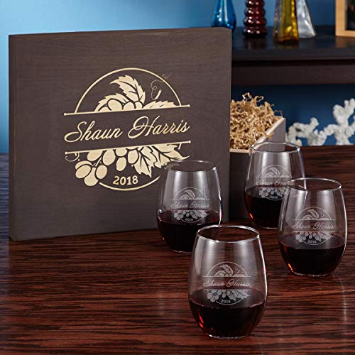 Rhone Valley Engraved Stemless Wine Glass Gift Box Set (Personalized Product)
