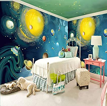 Amazon Com Atr Wallpaper Cartoon Hand Painted Outer Space Large