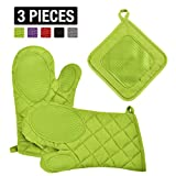 VEEYOO Cotton Oven Mitts Pot Holders Set - Kitchen Silicone Oven Mitt Heat Resistant, Non-slip Grip Oven Gloves Potholder 3 Packs Cooking, Baking & BBQ, Anise Green
