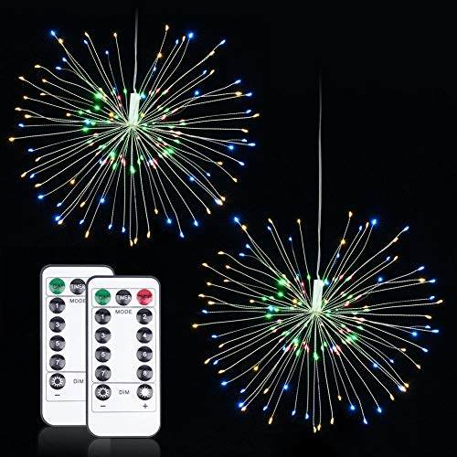 LED Fairy Lights, 8 Modes Firework Copper Wire Dimmable String Lights.120 LEDs Bouquet Shape Battery Operated Starburst Light, Remote Control with Timer. Decoration for Garden, Patio. (2 Pack)