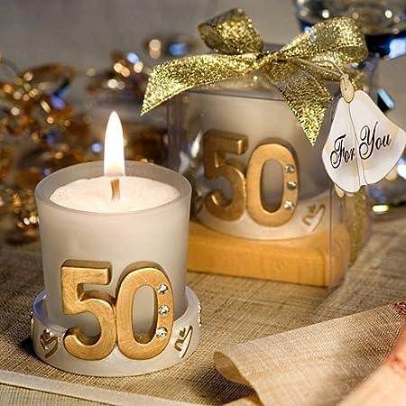 DISOK Pack de 20 Velas Boda 50 Aniversario, Cristal, Multicolor, 4.5x4.5x6.5 cm