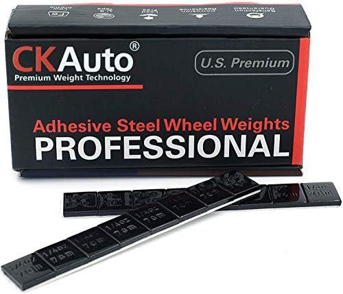 CKAuto 1/4oz, 0.25oz, Black, Adhesive Stick on Wheel Weights, EasyPeel Tape. Cars, Trucks, SUVs, Motorcycles, Low Profile, 60oz/Box, U.S. OEM Quality, (240pcs)