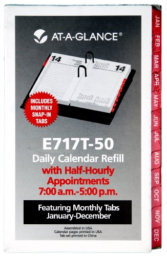 AT-A-GLANCE Desk Calendar Refill with Tabs , 3 x 6 Inches, 2013 - Mead Refill Calendar