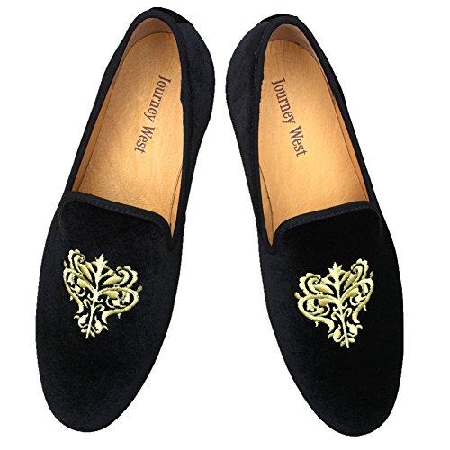 Men s Vintage Loafers Velvet Embroidery Noble Men …