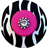zebra dresser knobs - Hand Painted Jeweled Black White & Hot Pink Zebra Decorative Dresser Furnitue Kids Childrens Nursery Room Art Decor Wood Drawer Knob