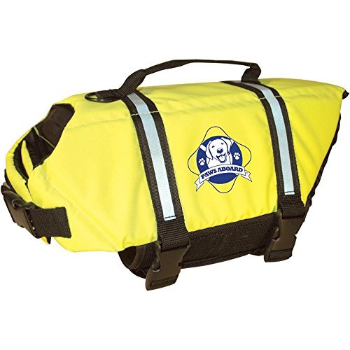 Paws Aboard Doggy Life Jacket - Safety Neon Yellow - Size Large (For Dogs 50-90 - Yellow Doggy Life Jacket