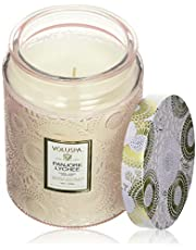 Voluspa Panjore Lychee Large Embossed Glass Jar Candle, 16 Ounces
