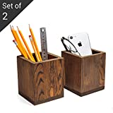 Set of 2 Natural Grain Wood Desktop Pen & Pencil Holder Cups, Office Supplies Organizer, Brown