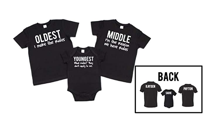 f38b8f7a8c Image Unavailable. Image not available for. Color  Sibling shirts set of 3 Oldest  Middle ...