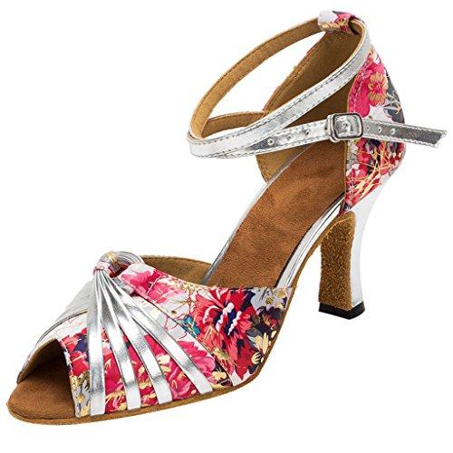 XYOO Zapatillas de baile interior para mujer Zapatos latinos de la salsa WK010 Plateado