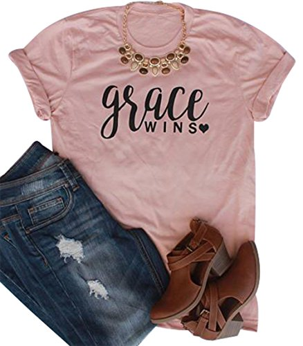 BANGELY Women's Grace Wins Letters Print Short Sleeve T-Shirt Casual O-Neck Loose Tee Tops Blouses Size Large (Pink) (Grace Womens Pink T-shirt)