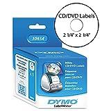 Dymo 30854 LabelWriter Media Labels 2 1/4'' diameter, Pack of 2, White CD/DVD, 160 Labels per Roll