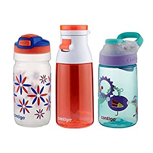Contigo kids Water Bottles, (Squeeze Bottle, Jackie Bottle, Gizmo Bottle)- Variety 3 Pack