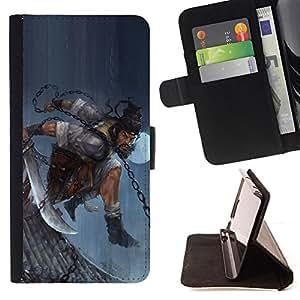 BullDog Case - FOR/Samsung Galaxy S4 IV I9500 / - / ASIAN WARRIOR MAN /- Monedero de cuero de la PU Llevar cubierta de la caja con el ID Credit Card Slots Flip funda de cuer