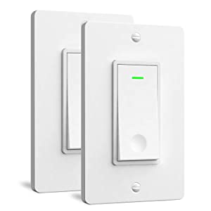 Aoycocr Smart Light Switch 2-Pack - Neutral Wire Needed, Single Pole, 2.4Ghz Wi-Fi Wall Switch, Easy to Install, Compatible with Alexa, Google Assistant & IFTTT, Schedule, Remote Control, FCC Listed