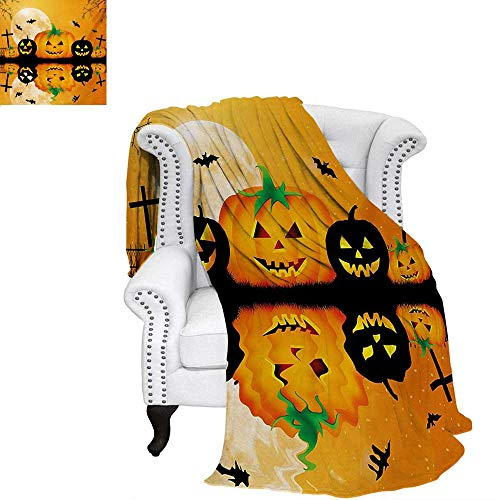 warmfamily Halloween Summer Quilt Comforter Spooky Carved Halloween Jack o Lantern and Full Moon with Bats and Grave Lake Digital Printing Blanket 80