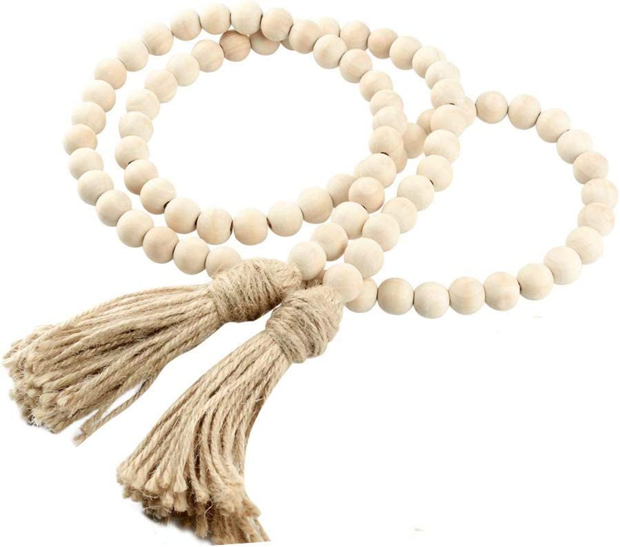 AceAcr Wood Bead Garland Farmhouse Beads with Tassels Rustic Home Decor Prayer Beads